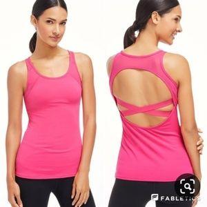 Fabletics Hot Pink Crisscross Open Back Tank